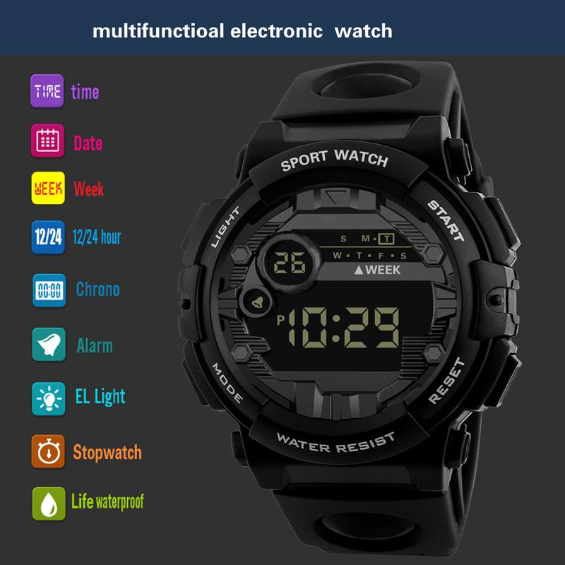2019 Hot Luxury Mens Digital LED Watch Date Sport Men Outdoor Electronic Watch Quartz Outdoor Hiking Sport Mejor regalo