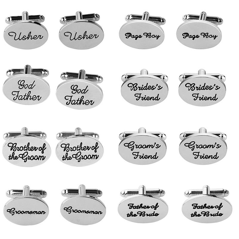 2019 Lead Tin Alloy Mans Cufflinks Fashion Wedding English Letter