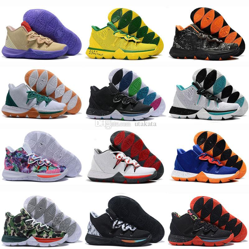 3499f738a464 2019 New 5 5s V Basketball Shoes For Men Black Magic Kyrie Chaussures  Sports Sneakers Mens Trainers High Ankle Basketball Shoes Size 40 46.