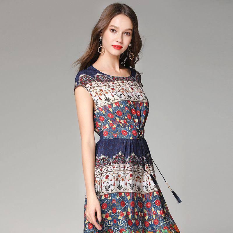 eebdaeb678073 Summer silk dress new style 2019 European and American high-grade authentic  temperament high waist printing silk dress factory wholesale