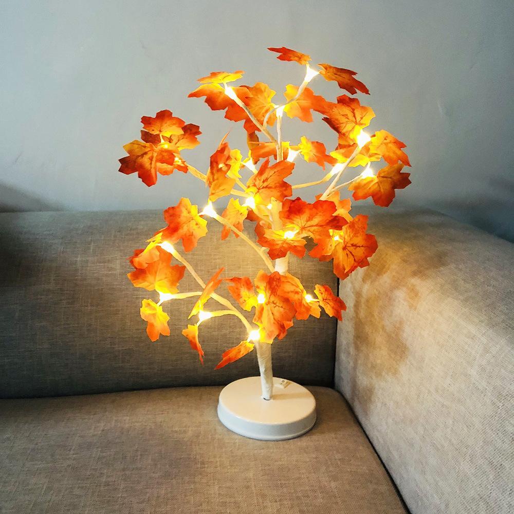 Acheter 24 Leds Arbre Lumineux Led Feuille D Erable Lampe Fleurs
