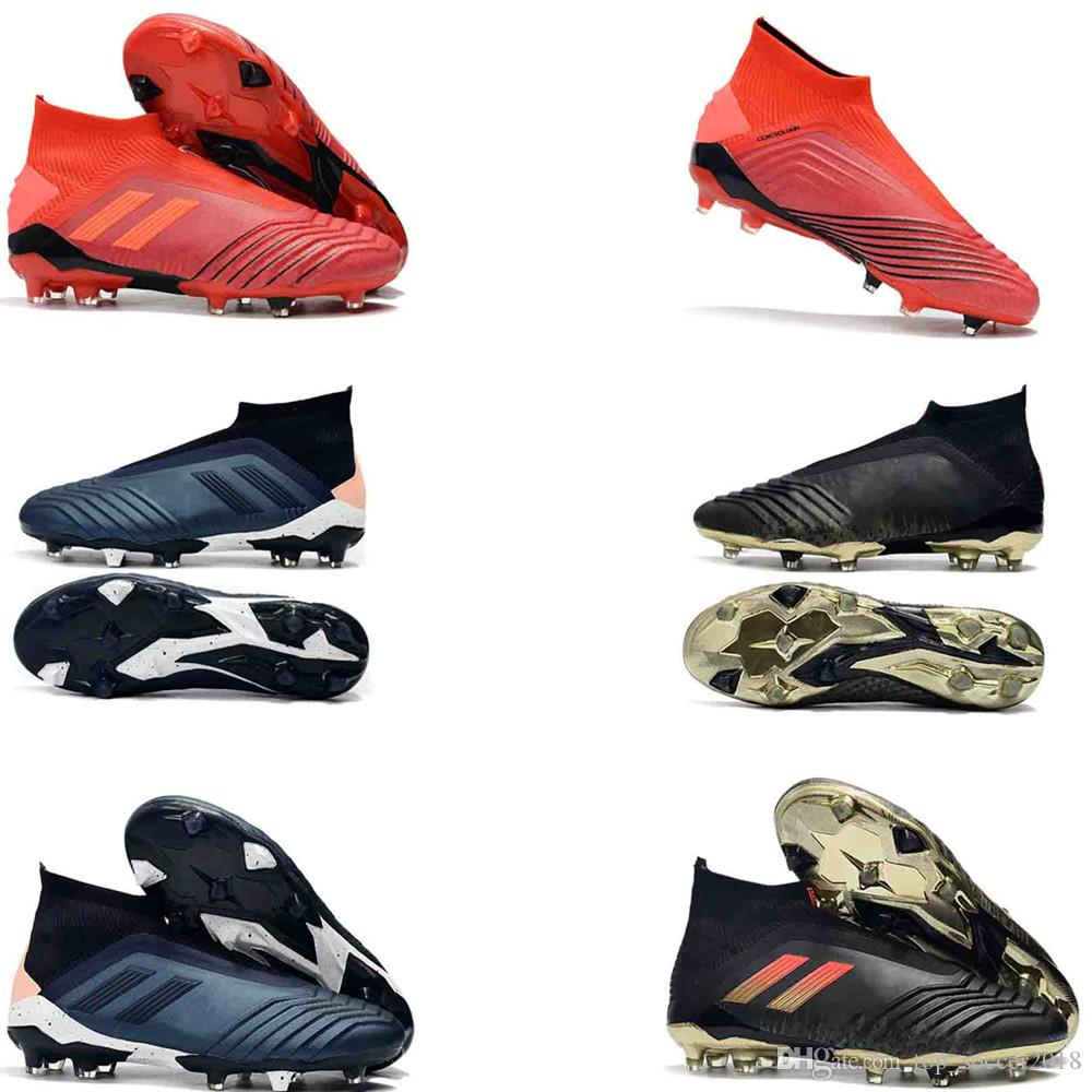 c65933a6ec61 Grey Red Soccer Cleats Laceless Pogba Predator 18+ FG Outdoor Soccer Shoes  Shadow Mode Original Football Boots UK 2019 From Top_soccer2018, ...