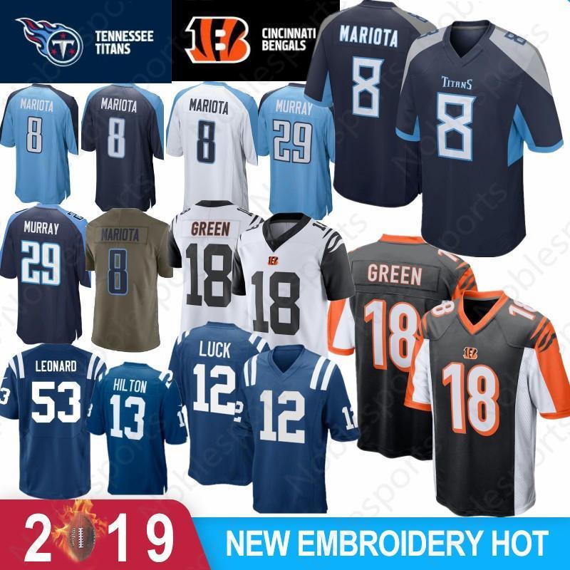 c059cd9fc1b 2019 53 Darius Leonard Colts Jerseys 12 Andrew Luck 13 Ty Hilton 18 Peyton  Manning 29 Demarco Murray Titan 8 Marcus Mariota 18 A.J. Green 2019 From ...