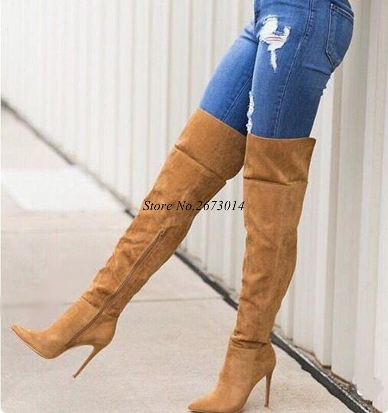 295ecffc65b Fashion Winter Women High Boots Pointed Toe Brown Suede Leather Slim Over  The Knee Thigh High Stiletto Boots Side Zipper Mens Shoes Mens Boots From  ...
