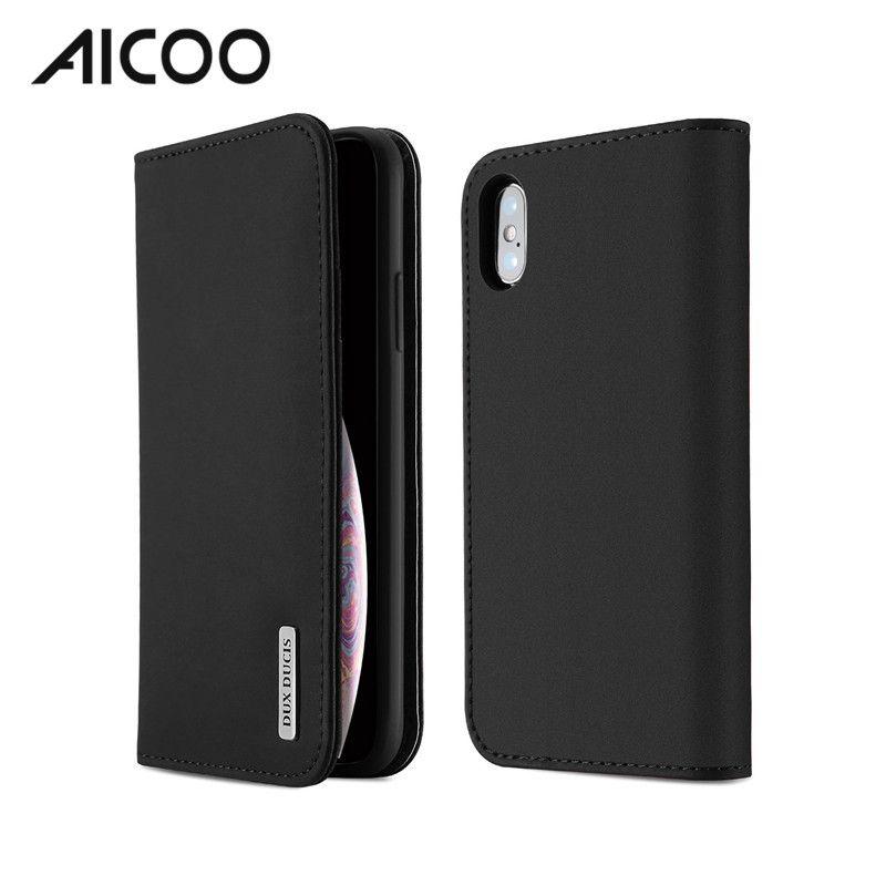 Housse Smartphone AICOO Wish Series Hybride Portefeuille Téléphone Cas En  Cuir PU TPU Avec Carte Poche Kickstand Sommeil Fonction Cas Pour IPhoneXS  Samsung