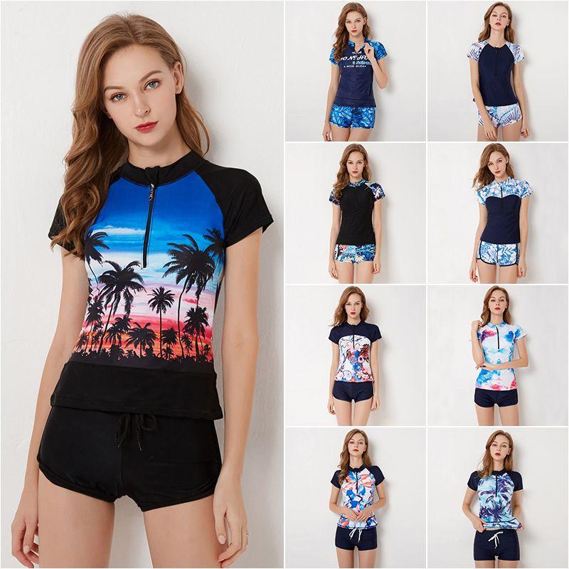 1052667db4 2019 New Short Sleeve Rash Guards Women Coco Print Swimsuit Zipper Bathing  Suit Plus Size Swimwear S 4XL Girl Plus Size Sportswear From Luanxiaobo
