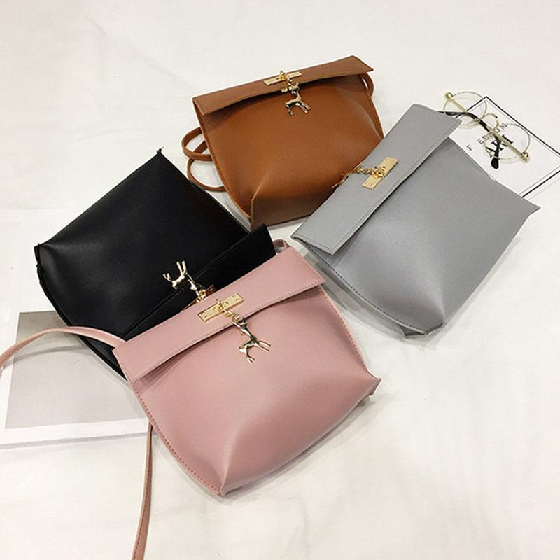 3d301d075f2f Fashion Korean Women Travel Shoulder Bag Pu Leather Zipped Solid Color Lady  Girls Messenger Bags With Deer Pendant Fab