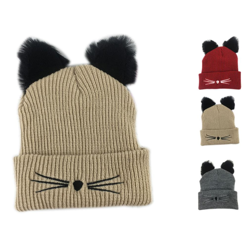 Cat Ears Shape Women Girls Hat Knitted Acrylic Warm Winter Beanie ...