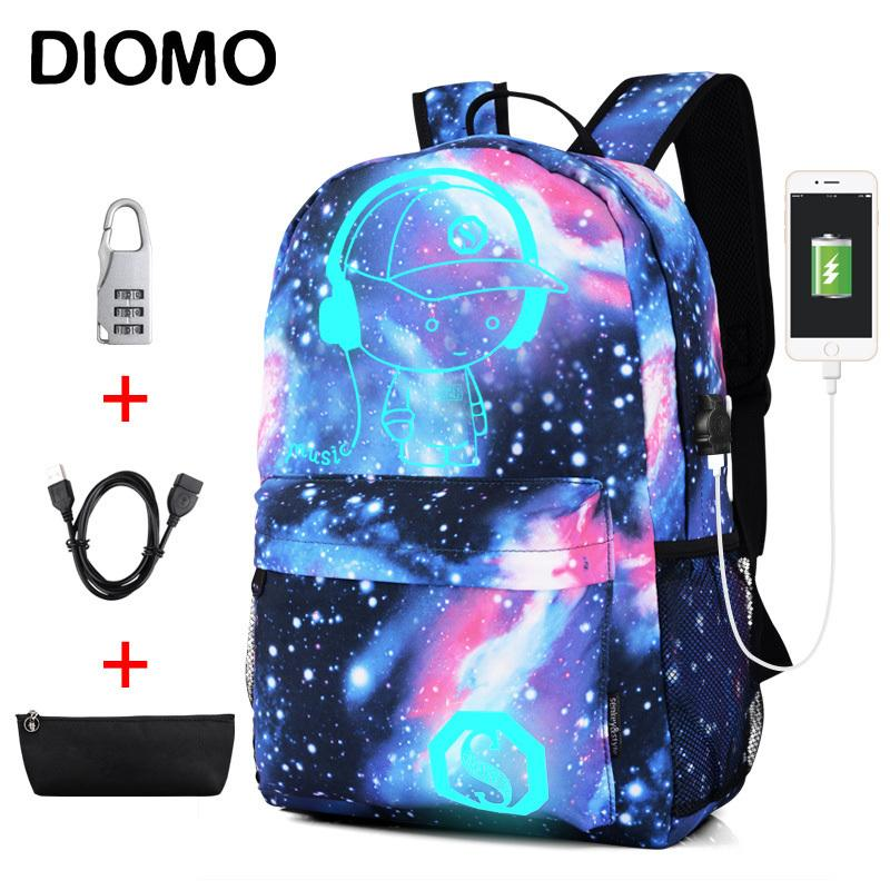 Diomo Cool Luminous School Bags For Boys And Girls Backpack With Usb Charging Anime Backpack For Teenager Girls Anti-theft Y19051701