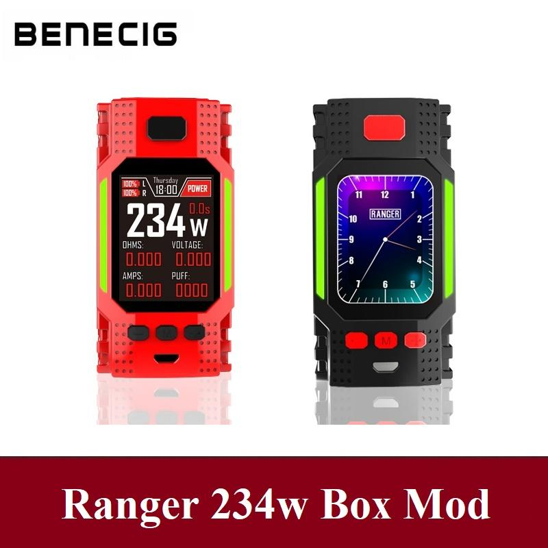Benecig 234w TC E Cigarette Mod Vape Dual 18650 Battery Electronic Box Mod With Big Screen RGB LED Bar Huge Vapor E Smoker
