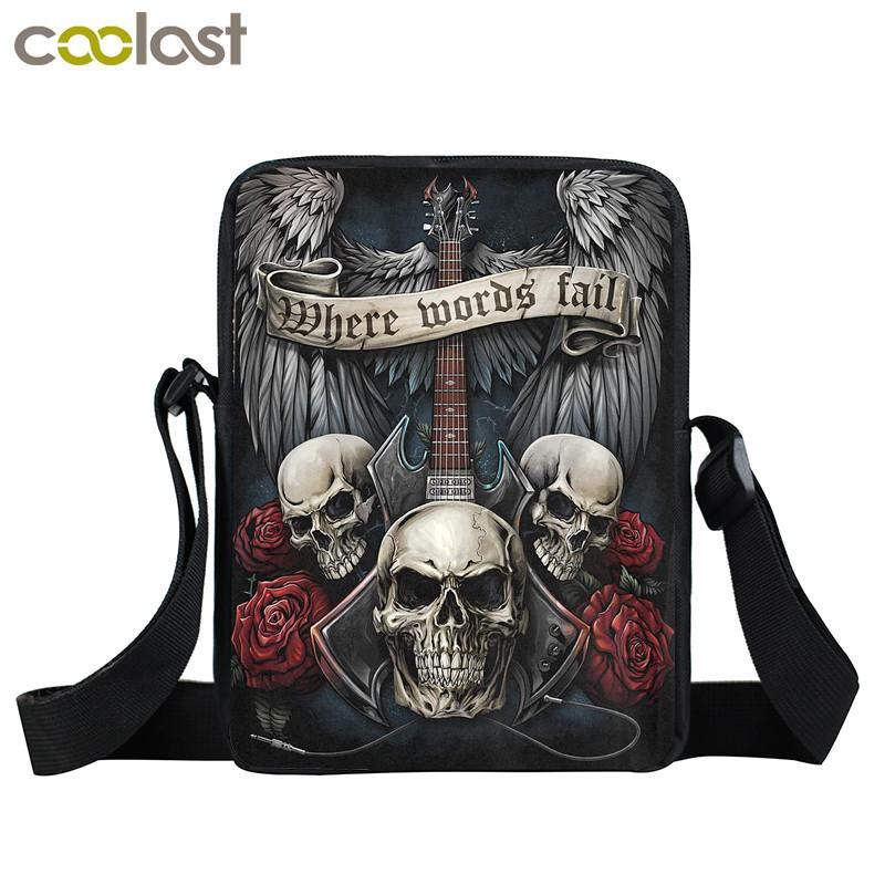 594f2ce10a2d Designer Rock Guitar Skull Rose Mini Messenger Bag Women Handbags Punk Small  Shoulder Bags Heavy Metal Men Crossbody Bags Book Bag Branded Handbags  Ivanka ...
