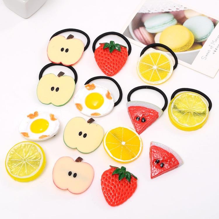 E221 soft sister hairpin Sen female female rope fruit hair ring watermelon hairpin lemon small fresh hair accessories wholesale