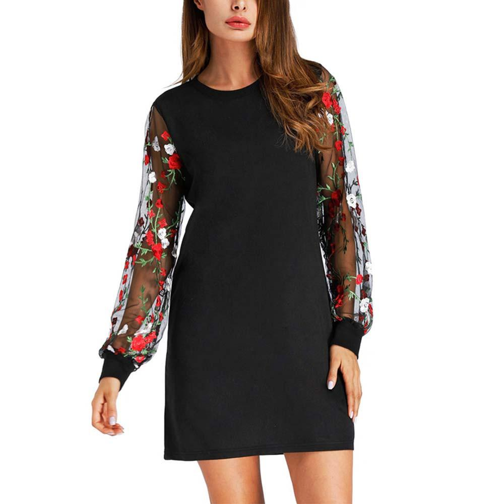 Feitong Embroidered Women Dress Summer Spring Hollow Out Mesh Sexy Dresses  Womens Long Sleeve Botanical Dress Vestito Night Dresses Casual Dress From  ... e2d1d8fc7850