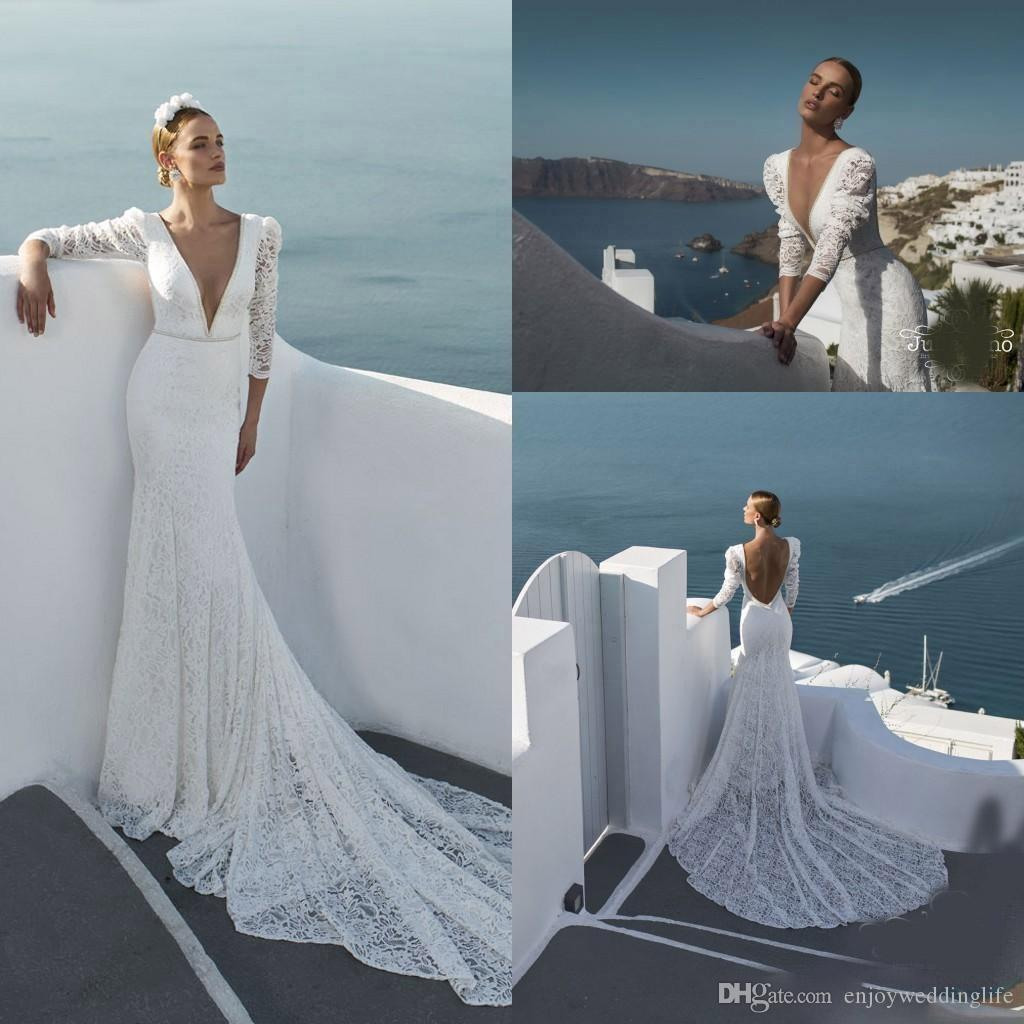 New Beach Long Sleeves Lace Mermaid Wedding Dresses Plunging V Neck Beaded Sequined Sexy Backless Bridal Gowns