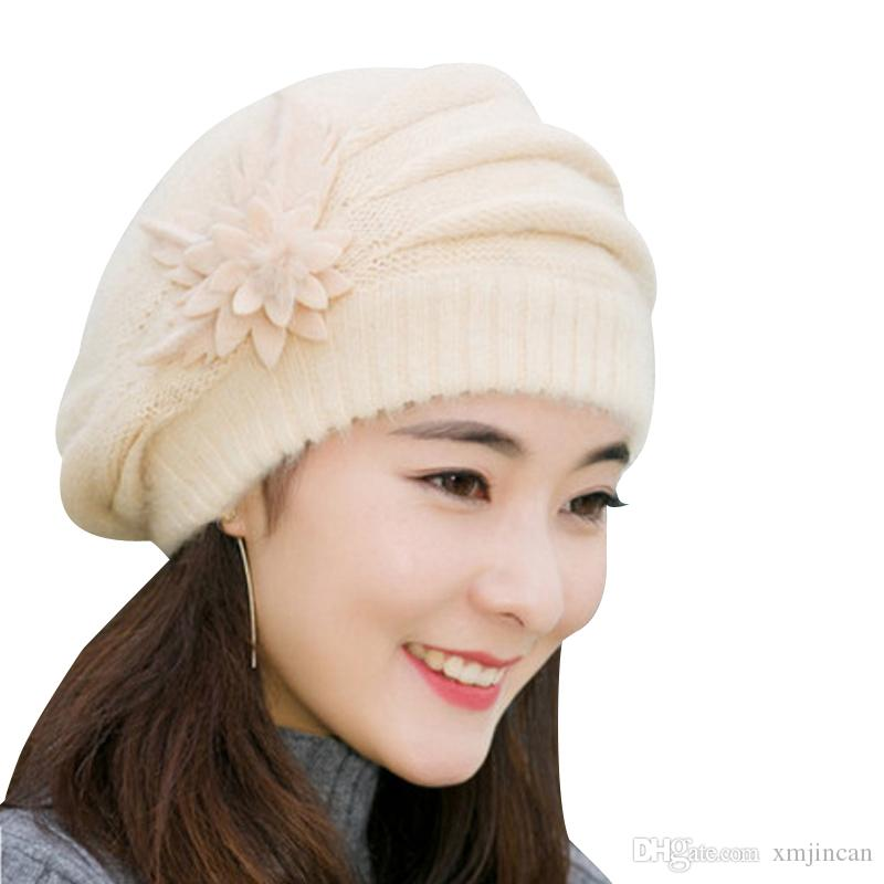 Women Winter Hat Warm Rabbit Fur Thicken Beret Hat Ladies Elegant Solid  Color Flower Knitted Cap Beanie Hoodies From Xmjincan 6a9883b6d6a