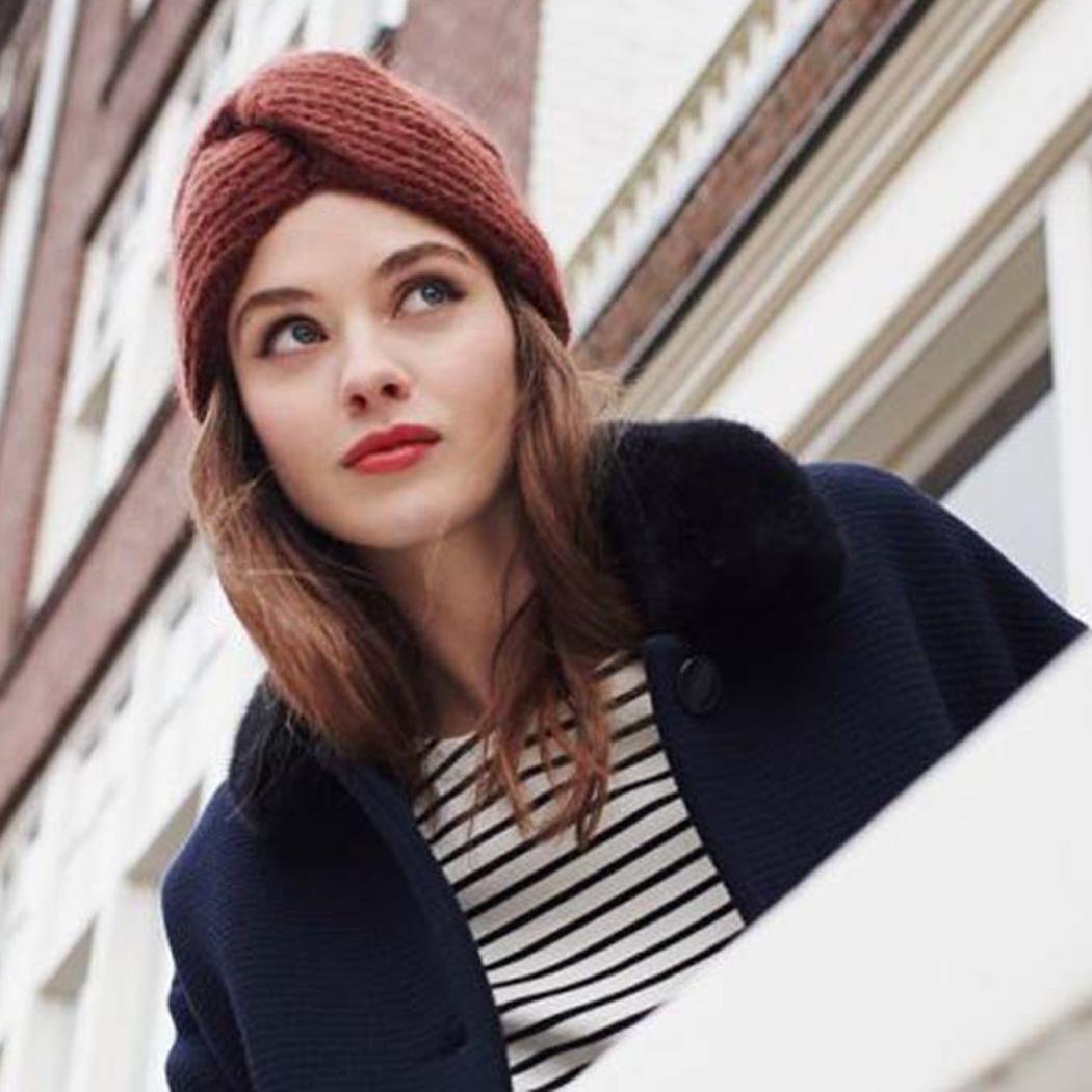 3074fa47e03 Winter Warm Cross Twist Caps Headwraps Women Knitted Turban Hat .