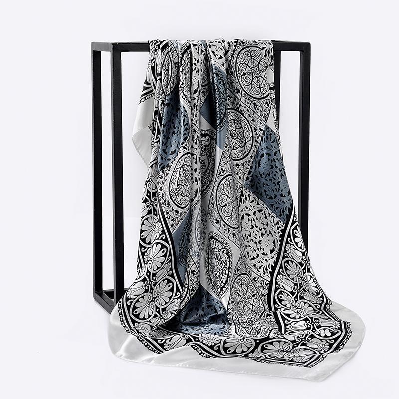 0e150484 Nuevo diseño negro mujer bufanda de seda de satén 90 * 90 cm bufandas  cuadradas para mujeres cabeza bufanda para cabello Hijabs