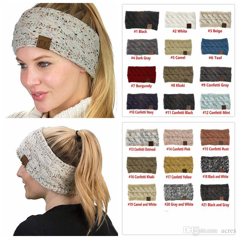 4d703ad52ba CC Knitted Headband Headwrap Hat Cap 21 Styles Women Hair Bands Crochet Twist  Ear Warmer Headband Hair Accessories Crochet Beanie Beanies For Girls From  ...