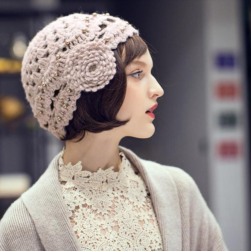Lady Beret Hat Autumn Winter Female All-match Wool Cap Korean Version New Knitted Berets Hats Women British Elegant Caps H6778