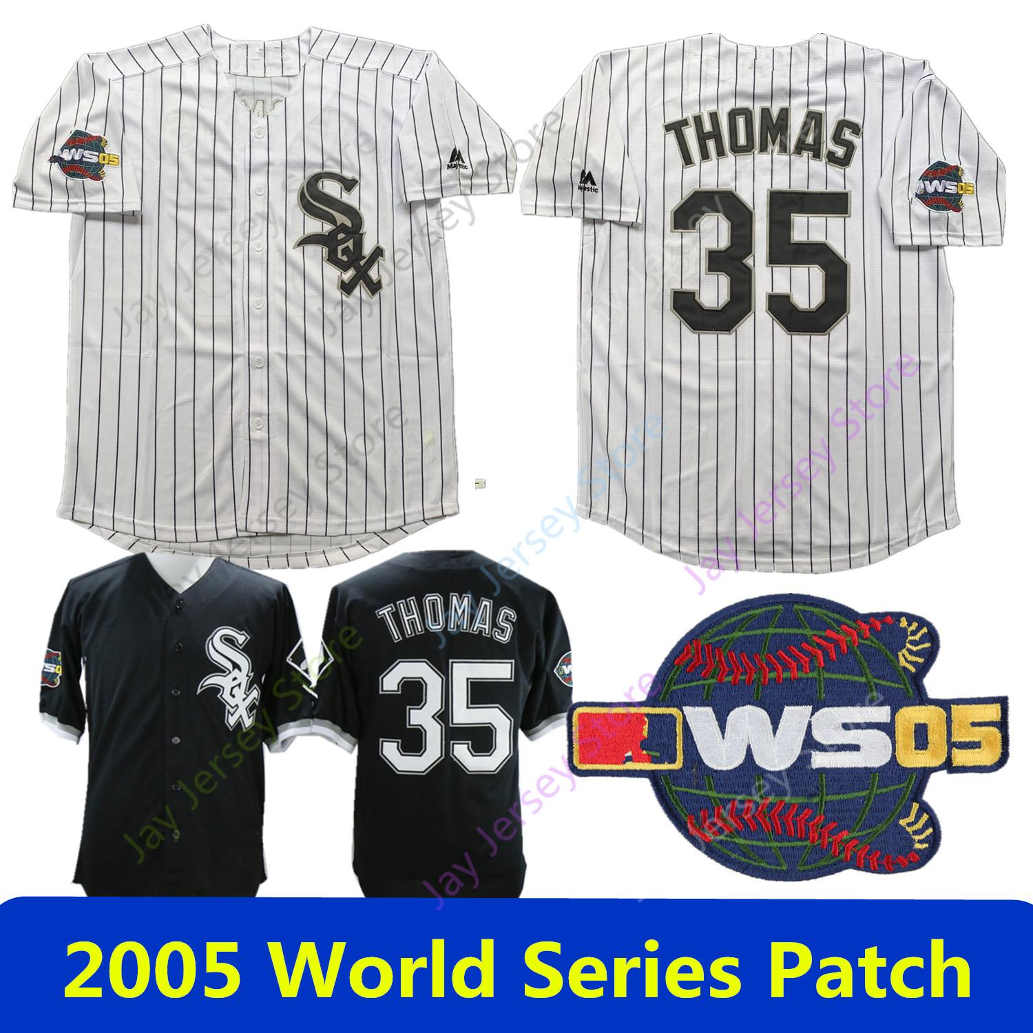 reputable site 57d32 06f09 Frank Thomas Jersey White Sox 2005 World Series All Stitched Home Away  Chicago Baseball Jerseys White Pinstripe Black Mesh BP