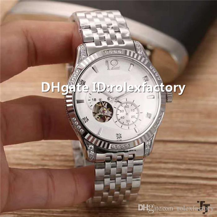 New Luxury Man Watch Tourbillon Automatic Mechanical Sapphire Crystal 904L Stainless Steel Case Steel Bracelet transparent case back Watches