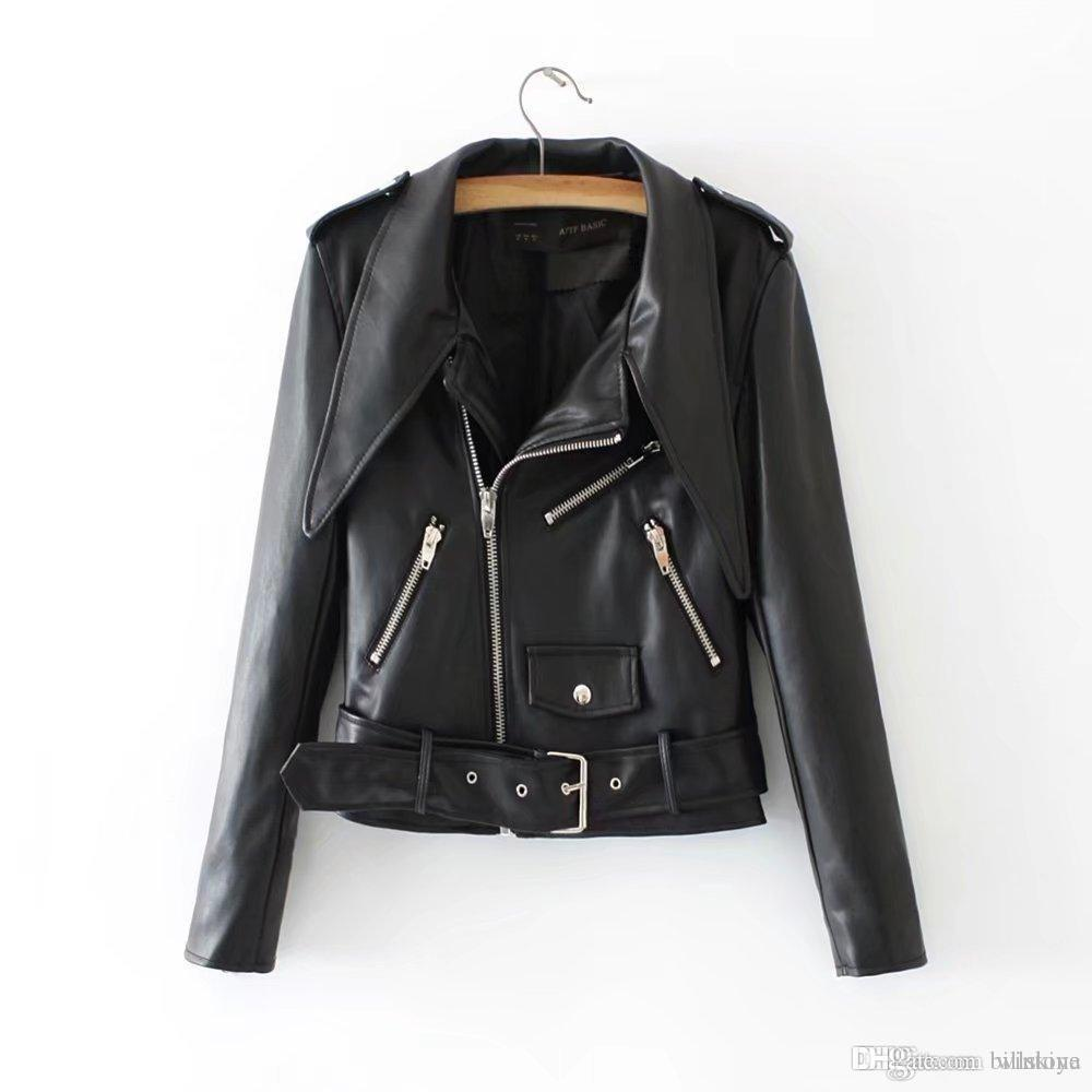 Women Short Motorcycle PU Soft Leather Vintage Zipper Jacket Coat Outwear HOT
