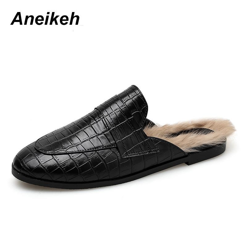 Shoes Fluffy Slider Mujer Ladies Zapatillas Punta House Con Aneikeh Diapositivas Peludas Mules Piel Zapatos Redonda On Invierno Slip De FJTl13cK