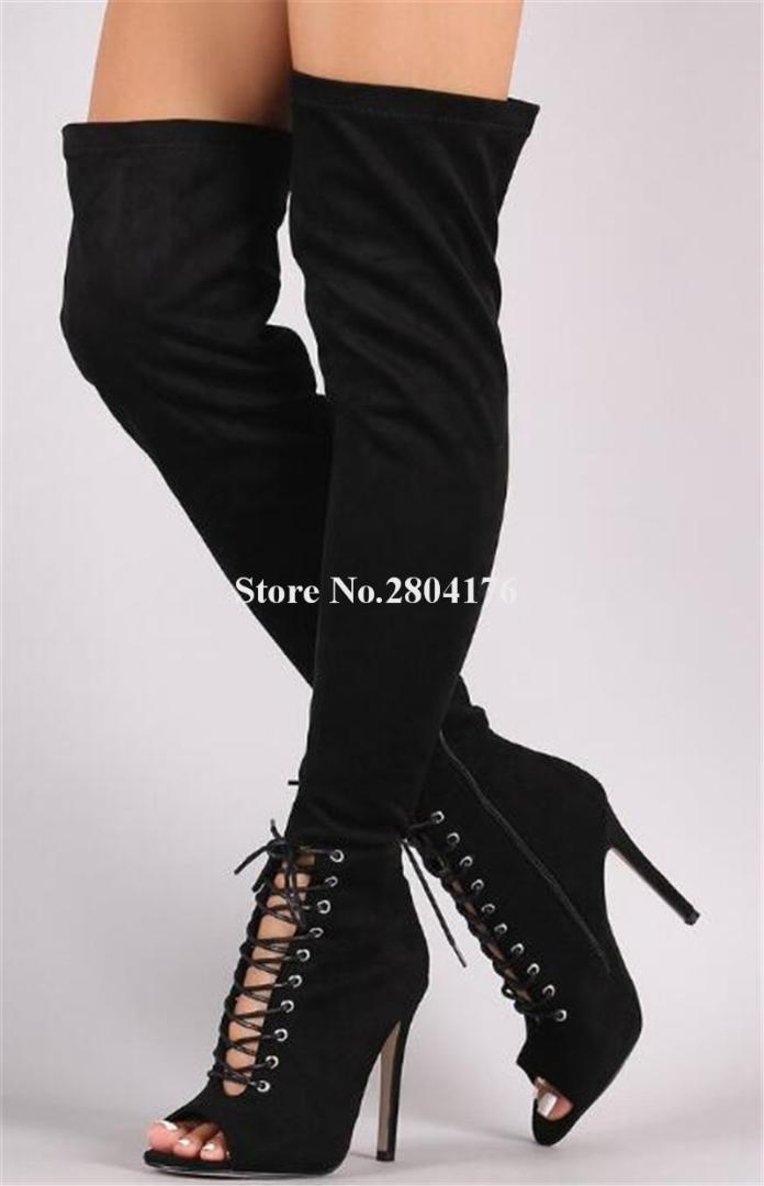 1531cef41d51 Women Fashion Black Suede Leather Over Knee Thin Heel Gladiator Boots Cut  Out Lace Up Stiletto Heel Long HIgh Boots Heels Boot From Lemmom