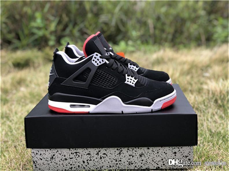 huge discount 2f03e 75d04 2019 New Authentic 4 Bred Man Basketball Shoes OG Black Cement Grey Summit  White Fire Red 4s Sports Sneakers 308497-060