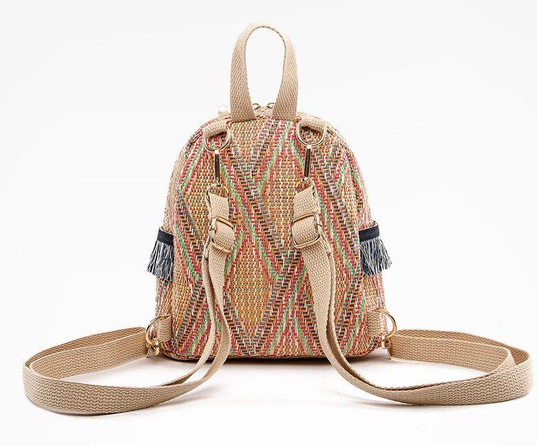 Straw Woven Small Backpack Women Fashion Bag Stripe Print Shoulder School Knitting Backpack Female