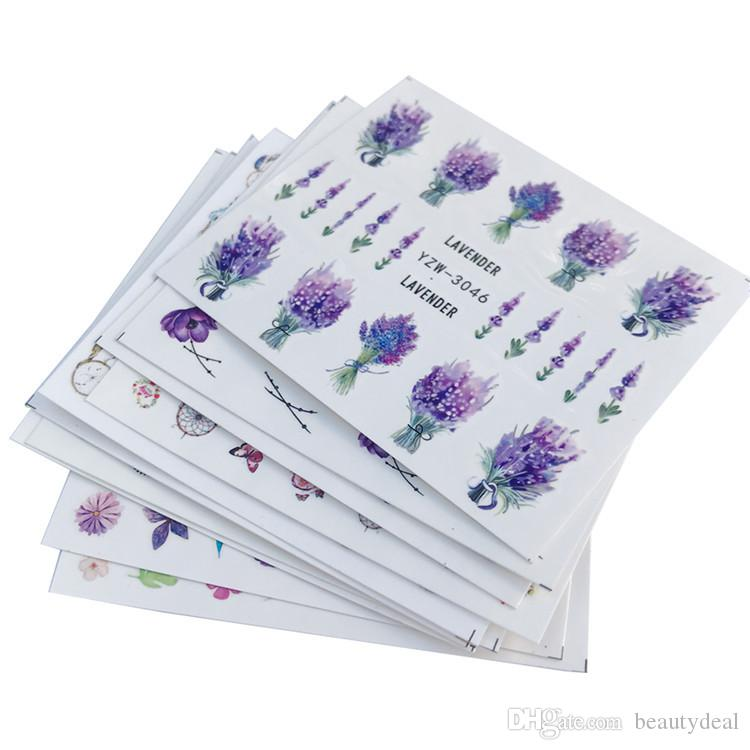 New Japanese nail flower watermark paste small fresh lavender stickers three-dimensional aesthetic DIY nail paste set