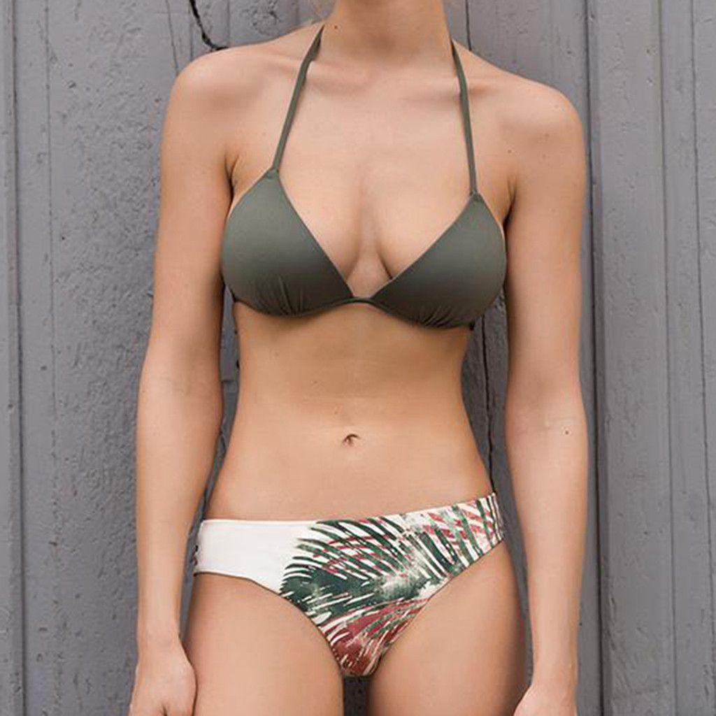 2eaf2507ea0db Sexy Bikini Swimwear Women Swimsuit Push Up Tropical Leaves Bikini ...