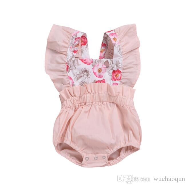 Summer baby Jumpsuit girls pink flower prints kids designer clothes girls romper children's lace crawling suit kids clothing BY0982/0826
