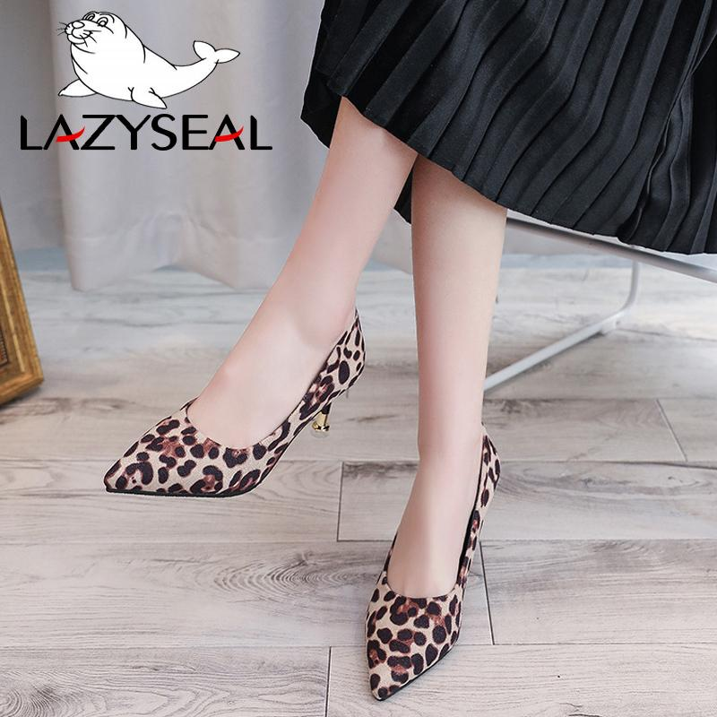 Lazyseal Leopard Women Pumps High Heels Shoes Woman Metal Thin Heels Pointed Toe Pumps For Women Female Party Shoes Wedding