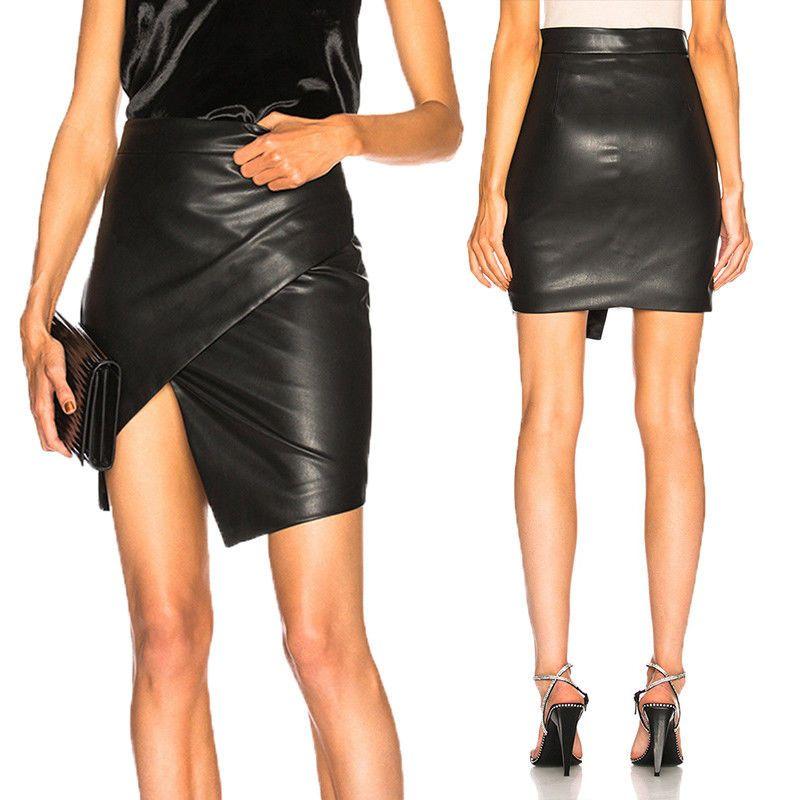 ba6728e61fd494 Nouvelles femmes jupes taille haute moulante PU cuir strench courte jupes  slim clubwear soirée party sexy crayon jupes