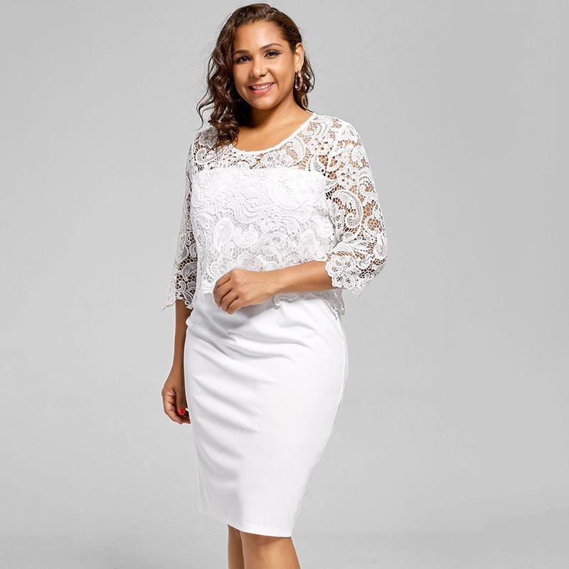 32188de86f Compre Mujeres Vestidos Ajustados Más El Tamaño 5XL Fiesta De Verano Noche  Blanca Delgada Oficina Simple Moda Elegante Para Mujer Vestido De Encaje  Hueco A ...
