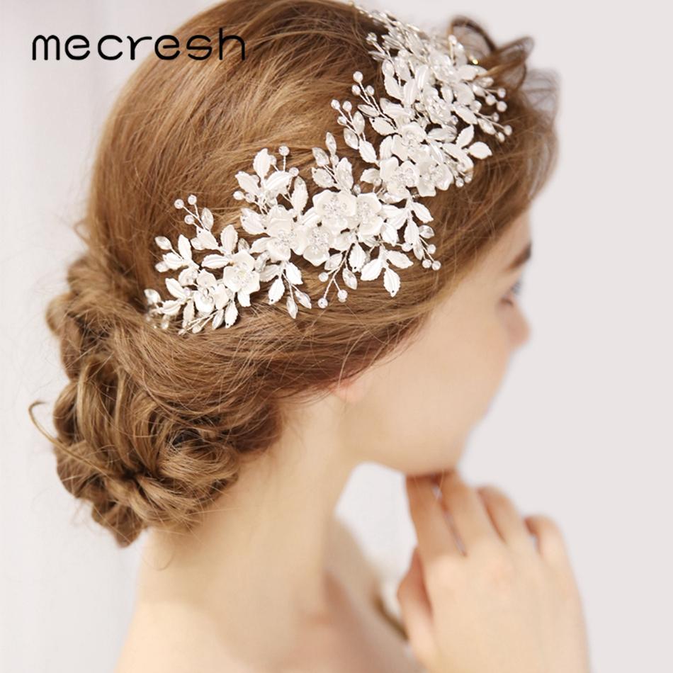 66a0fe79853 Mecresh Rhinestone Bridal Headband Wedding Hair Accessories Crystal Leaf Flower  Hair Comb Hairpieces Jewelry for Women MFS179 Hair Jewelry Cheap Hair ...
