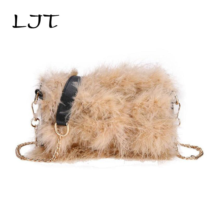 LJT Faux Fur Handbag Women Shoulder Bags Korean Ladies Casual Plush ... 78baf2bf9e3bc