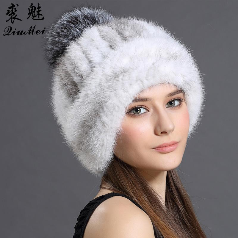 Women S Cap Real Mink Fur Hat Winter Knitted With Fox Fur Pompom Luxury  Thicken Mink Hat Casual Fur Hats For Women Beanie Female S18120301 Black  Baseball ... e565a542c29b