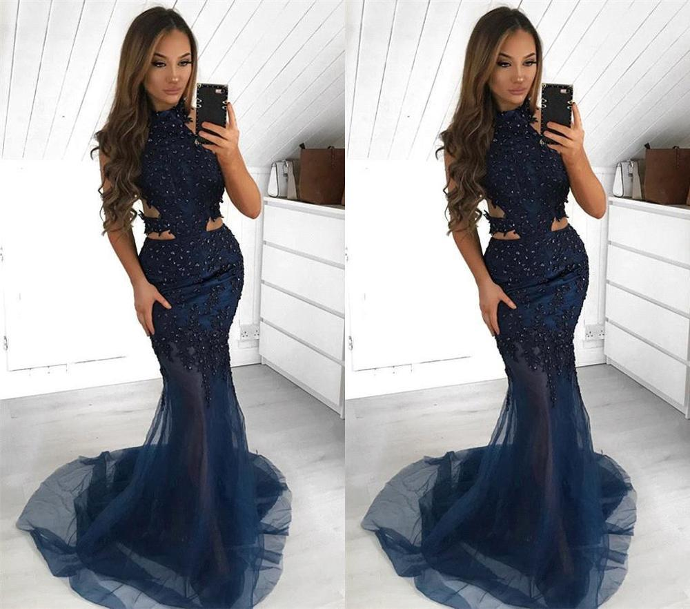 Vestido Noche Elegante Royal Blue Tulle Mermaid Formal Dress Halter Bridal Long Evening Dress Plus Size Women Evening Gown