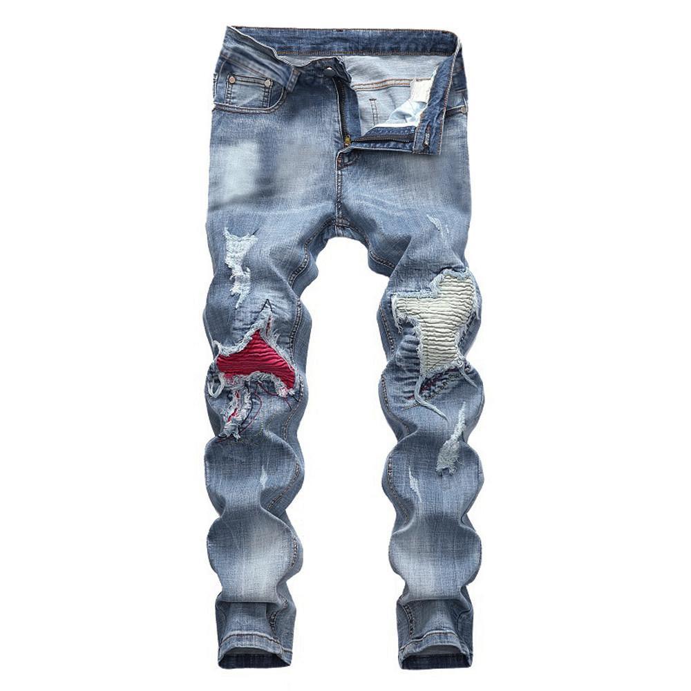 d8b82443c7 Casual Men s Vintage Jeans Denim Folds Wash Work Frayed Patchwork Zipper  Basic Pants Men Jeans Pants Slim Fit Vaqueros Hombre 10