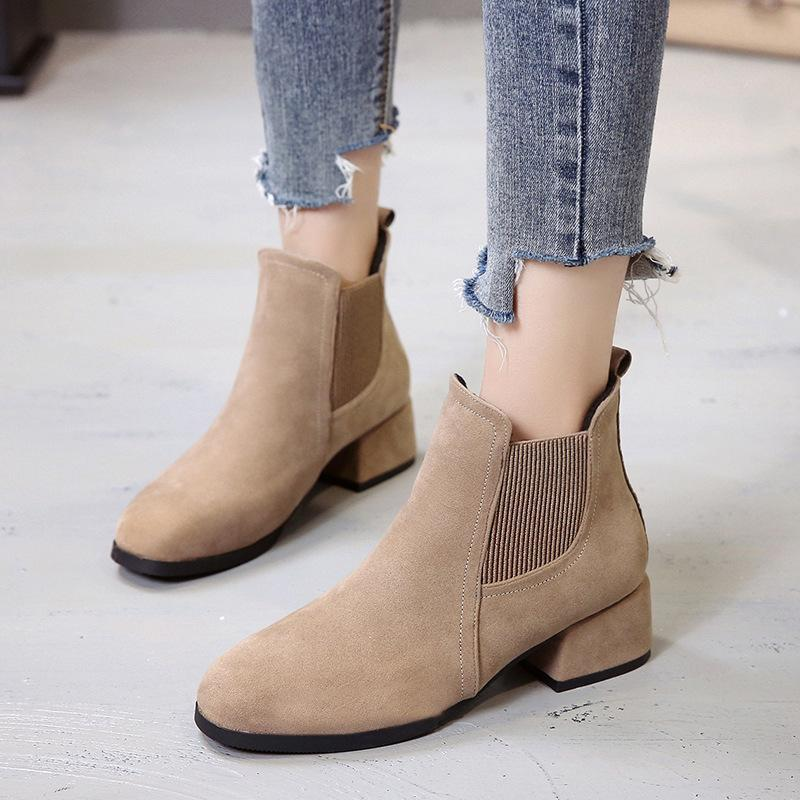 78bc6f45b85996 Acheter Femmes Bottines En Cuir Noir Talon Bas Chaussures Paresseux Femmes  Hiver 2019 Casual Set Pied En Cuir Martin Boot De $25.88 Du Wangbeiche |  DHgate.