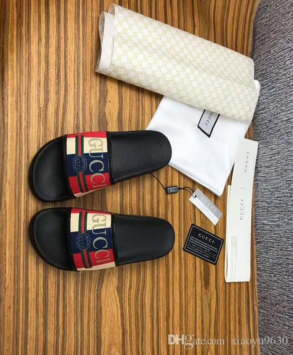 29263243b 2019 Black Rubber Slide Sandal Slippers Green Red White Stripe Fashion  Design Men Women With Box Classic Ladies Summer Flip Flops Shoe Sale Suede  Boots From ...