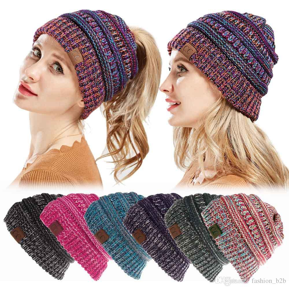 3fc59917035 CC Ponytail Beanie Women Crochet Winter Beanie Skullies Knitted Warm Cap  Beanies For Ladies Colorful Bohemian Ponytail Hat Mens Beanies Custom  Beanies From ...