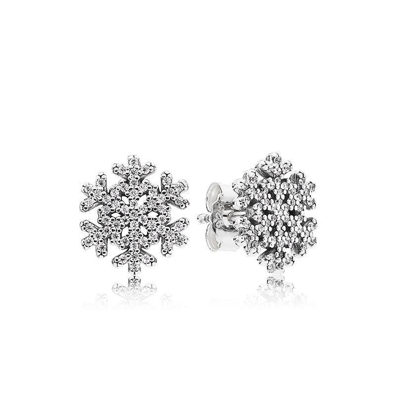 f4d6f06a2 Ladies Shiny Snowflake Earring Luxury 925 Sterling Silver Earrings ...