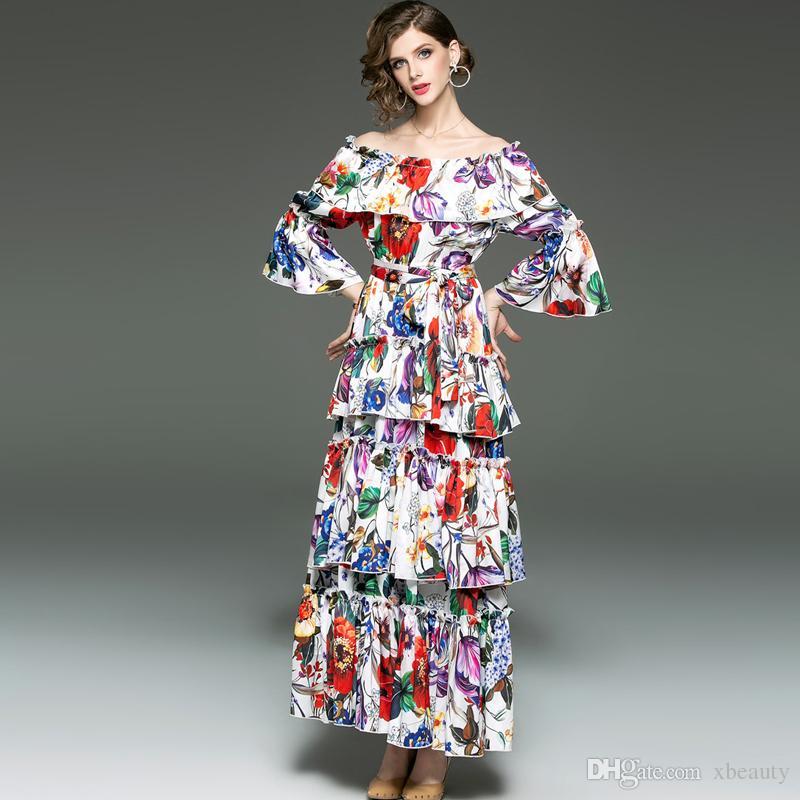 a43a9367a5163 Women's Runway Designer Dresses Slash Neckline Tierred Ruffles Floral  Printed Sash Belt Fashion Casual Holiday Dresses