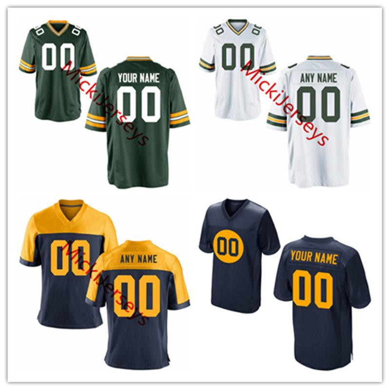 new concept 55a4a 4e91f Mens womens youth kids Custom Green Bay football Jersey Home White Away  Black Alternate Navy gold Green Bay Customized Jersey S-3XL