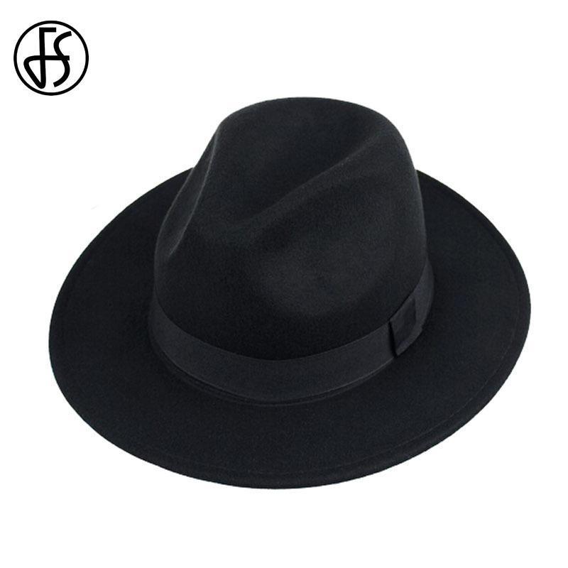 a2e20c29602f2 FS Unisex Black Trilby Hats For Men Godfather Vintage Wide Brim Felt Fedoras  Hats Winter Man Jazz Caps Gorros Bowler Caps Women D19011102 Wide Brim  Fedora ...
