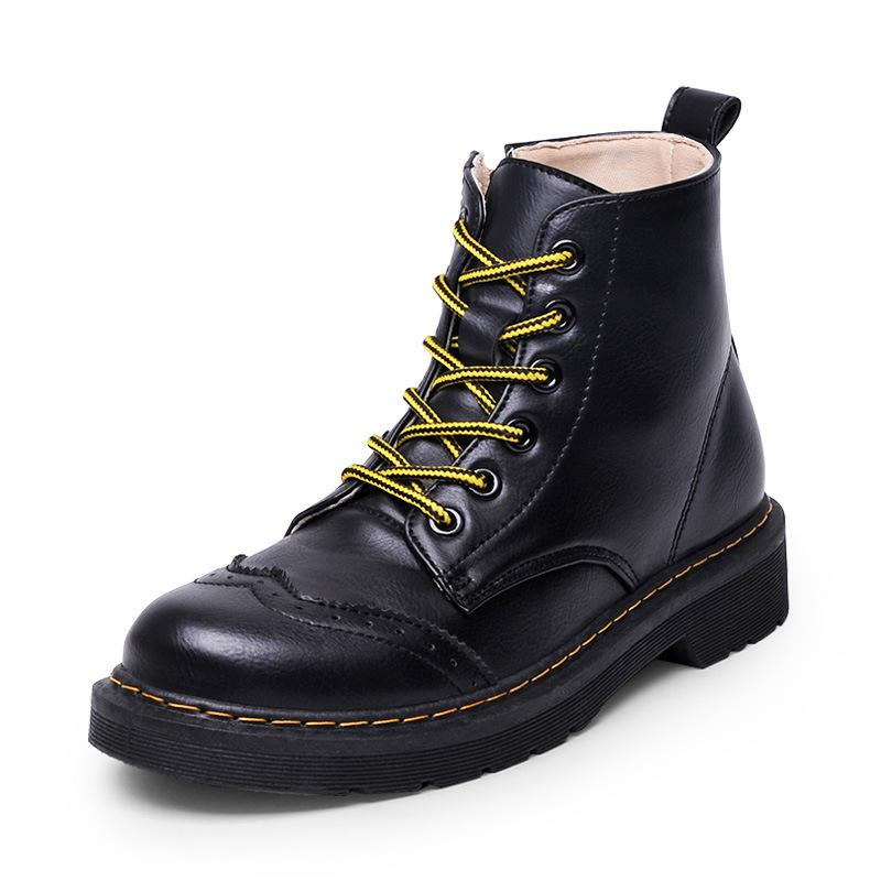 d14b71250c1 Handmade Sewing Low Heel Botines Carved Platform Botas Mujer New Contrast  Color Shoelace Ankle Boots Women Bullock Shoes Creeper Womens Ankle Boots  Leather ...
