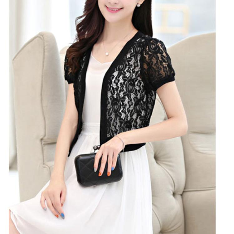 9e0ebeefb4 2019 Women Lace Cardigan Open Front Short Sleeve Hollow Out Casual Office  Kimono Beach Blouse Tops Ladies Short White Shirt Outerwear From Mobile07